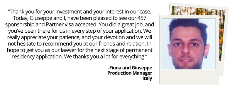 WEB Testimonial Fiona and Giuseppe